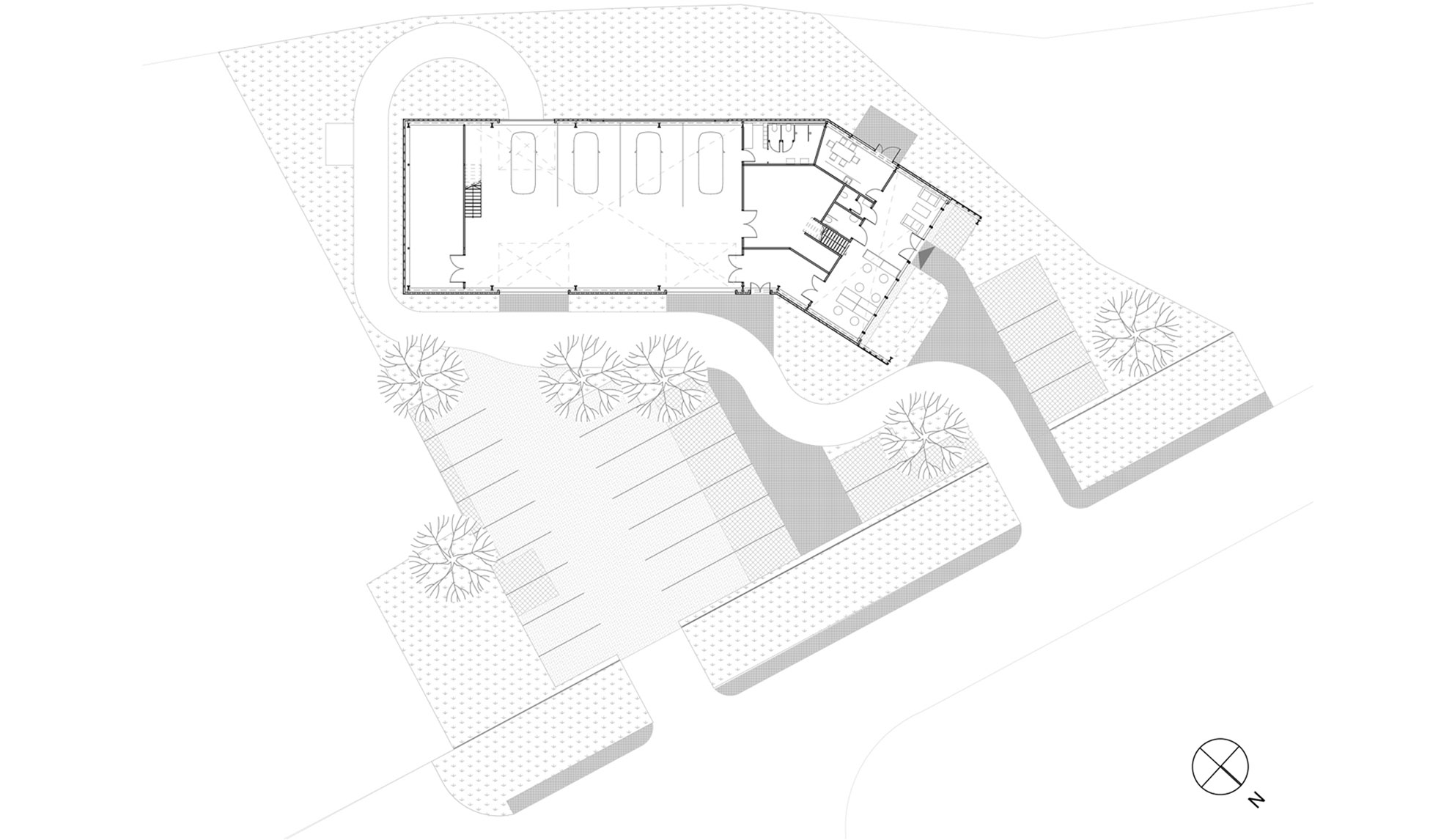WeCare architecture Eco-Living E-Service Electric Car Service Solymár Industrial Shed Floorplan