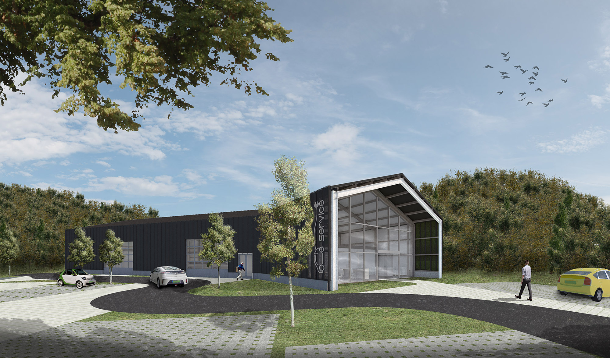 WeCare architecture Eco-Living E-Service Electric Car Service Solymár Industrial Shed Render