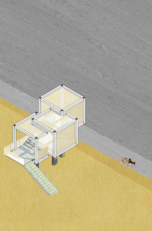 WeCare Architecture Eco-Living Industrial Beach House Project Isometric