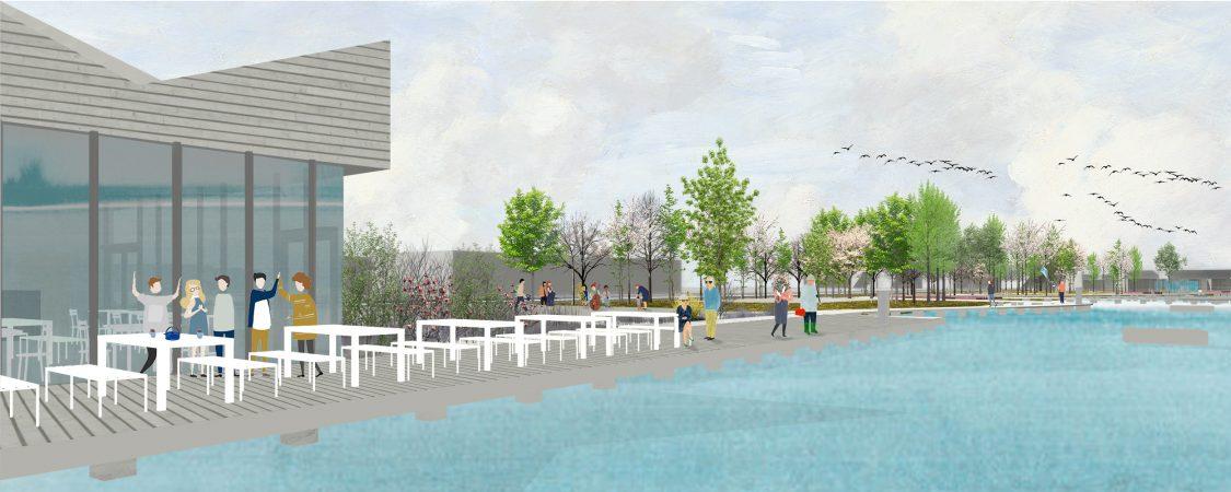 wecare architecture urbanism landscape boardwalk playground fitness healing park hungary islands