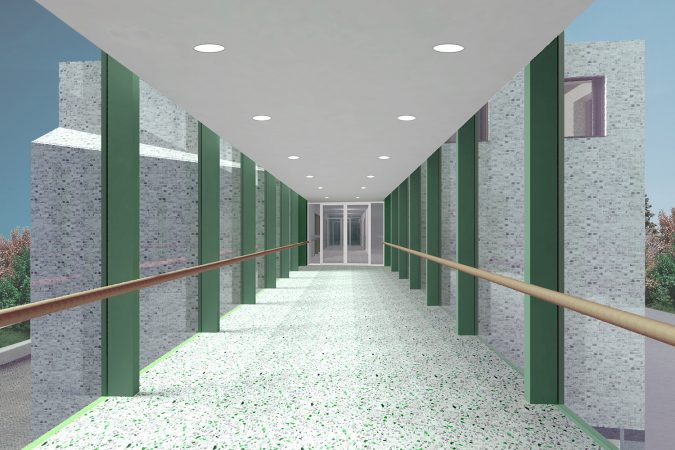 Care Facilities Cardiac Clinic Varosmajor Budapest Hungary Interior render 03 Connceting Bridge