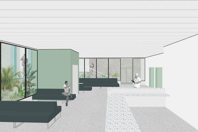 wecare architecture Varosmajor clinic plant peter kis budapest hungary health healing care entrance