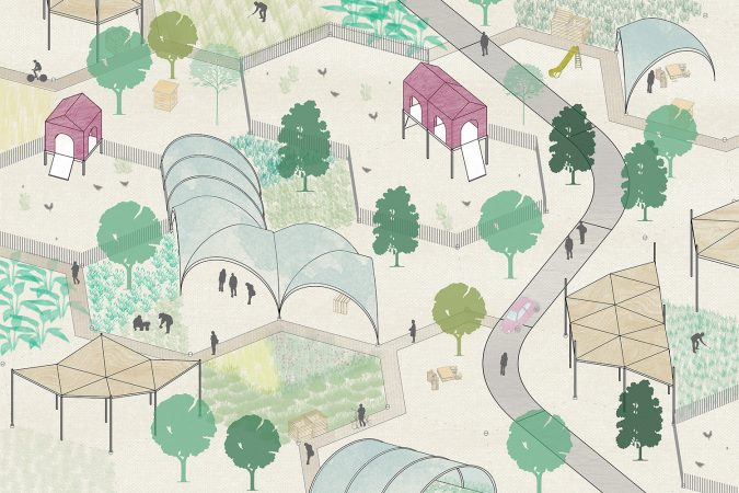 Liveable Cities Urban Farming Community Garden London Isometric 01