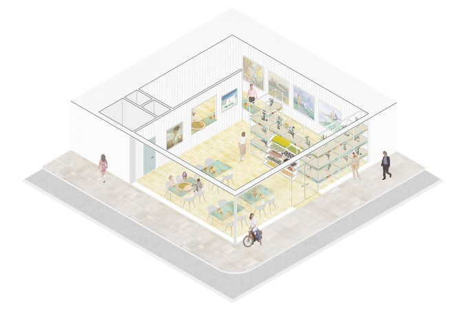 Liveable Cities Pizzalloko Interior Design for a healthy biological local pizza Isometric Concept